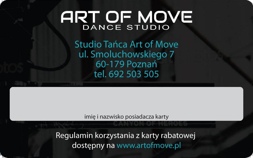 Karta Rabatowa Szkoły Tańca Art of Move